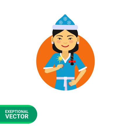 bengal light: Female character, portrait of Asian woman wearing Santa costume, holding sparkler