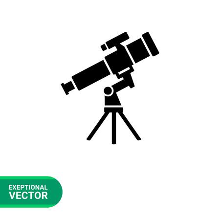 macrocosm: Monochrome vector icon of telescope representing astronomy concept