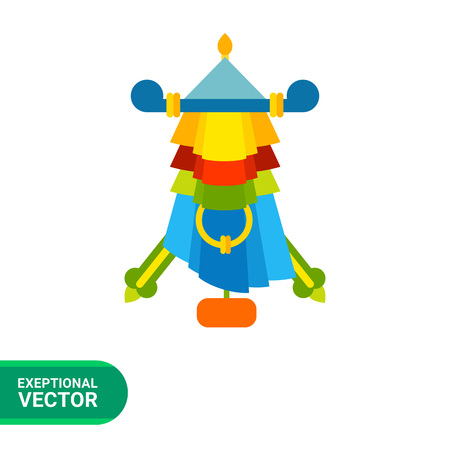 qigong: Multicolored vector icon of Auspicious symbol parasol Illustration