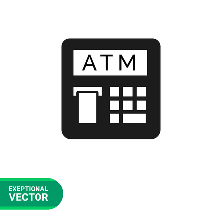 receipts: Vector icon of automatic teller machine with receipt