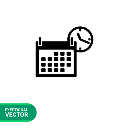 returning: Monochrome vector icon of calendar and clock representing back to school