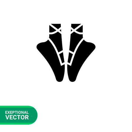 woman legs: Vector icon of woman legs in ballet shoes