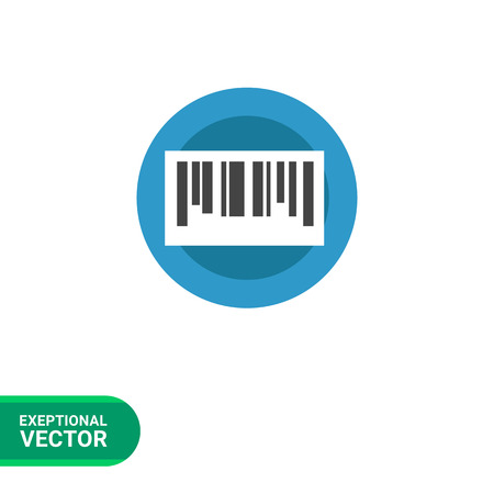 verifying: Vector circle blue icon with bar code, isolated on white