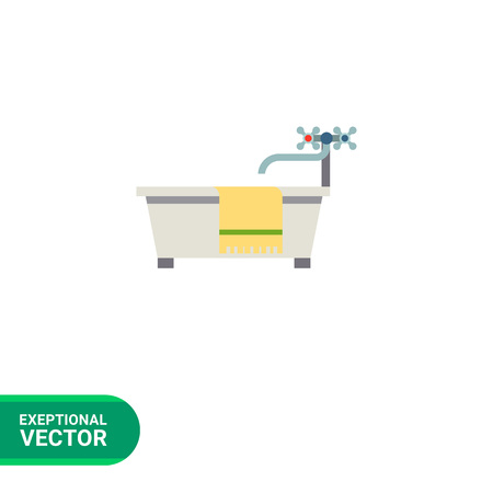 knobs: Multicolored vector icon of bathtub, water tap with knobs and towel with stripe
