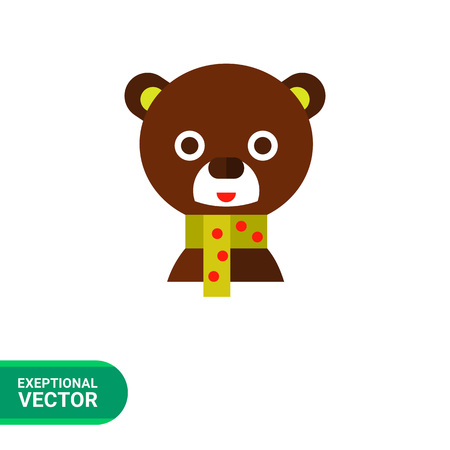 head scarf: Image of cute brown bear head with colorful spotted scarf
