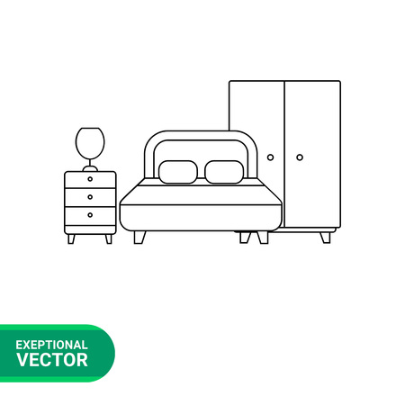 bedside: Monochrome vector icon of bedroom ensemble, wardrobe, double bed, bed-side table with lamp on it
