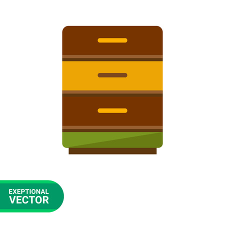 bedside: Multicolored vector icon of bedside table with three drawers