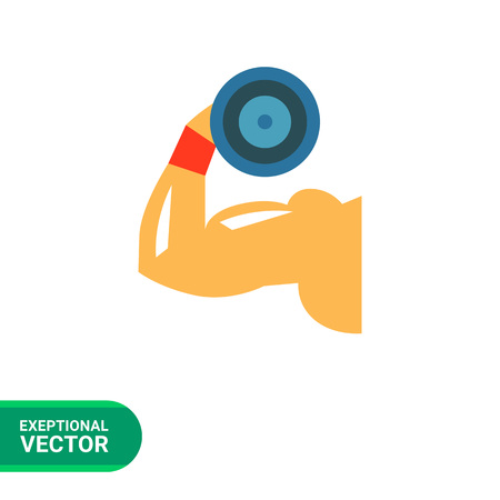 demonstrating: Multicolored flat icon of man hand demonstrating biceps by lifting dumbbell