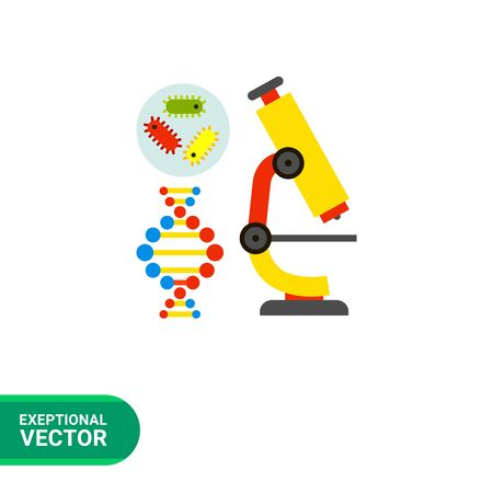 bacteria microscope: Multicolored vector icon of bacteria, DNA molecule and microscope representing biology concept