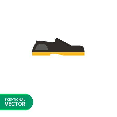 set di icone multicolore di mocassini neri con suola di scarpa gialla