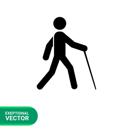 blind person: Blind simple icon. Vector illustration of blind person with cane