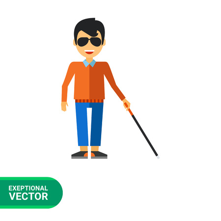 hombre pobre: Multicolor icono plano del hombre ciego con el bastón Vectores