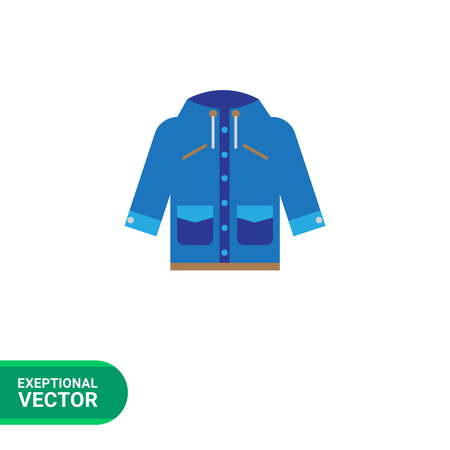 Vector icon of blue raincoat with hood and pockets Illustration