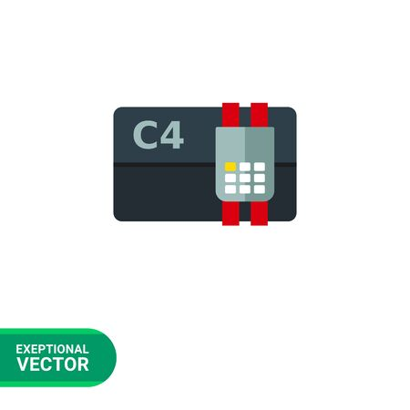 detonating: Multicolored vector icon of bomb consisting of C4 explosive and electronic control
