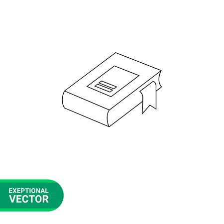 Vector line icon of 3d rectangular book volume with bookmark