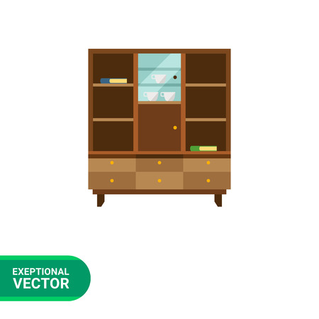 glass shelves: Multicolored vector icon of bookcase with closed glass door and books, cups on shelves