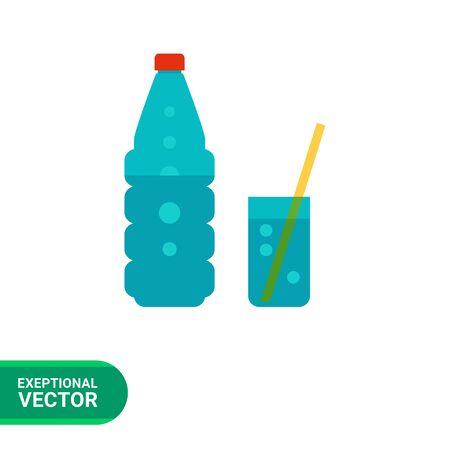 vasos de agua: Icono del vector del vaso de agua mineral con gas y vidrio con la paja Vectores