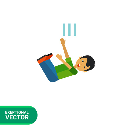 unexpected: Multicolored vector icon of boy cartoon character who is falling