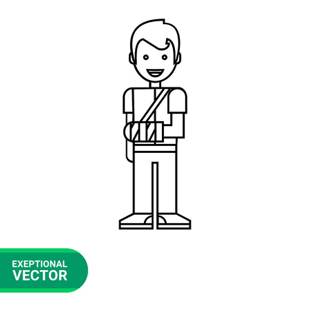 broken arm: Boy with broken arm line icon. Illustration of young male character with broken arm