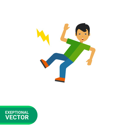 unexpected: Multicolored vector icon of boy cartoon character who is slipping Illustration