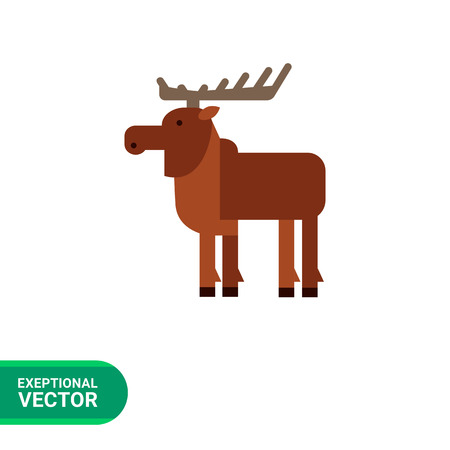cloven: Multicolored vector icon of wild brown moose, side view
