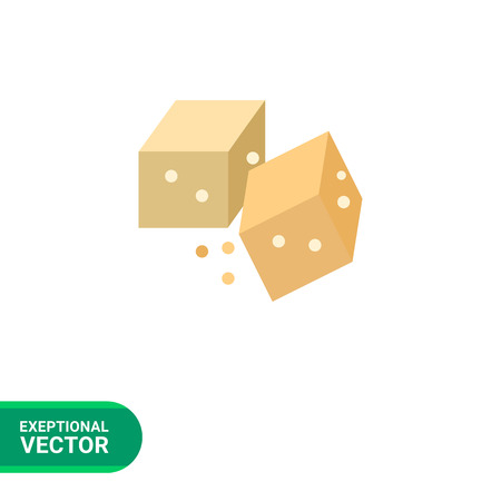 brown sugar: Multicolored vector icon of two brown sugar cubes Illustration