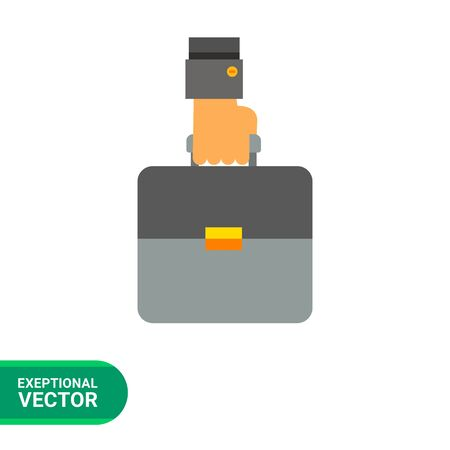 brief case: Business case icon. Multicolored vector illustration of hand carrying brief case