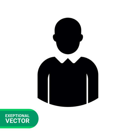 Vector icon of single faceless businessman silhouette
