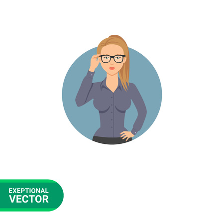 hairdos: Female character, portrait of serious businesswoman wearing glasses