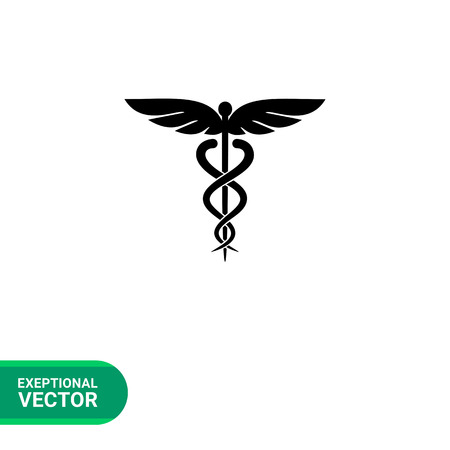 mercury staff: Caduceus simple icon. Vector illustration of symbol of medicine Illustration