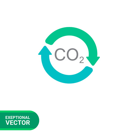 fume: Vector icon of carbon dioxide formula in circle made of arrows Illustration