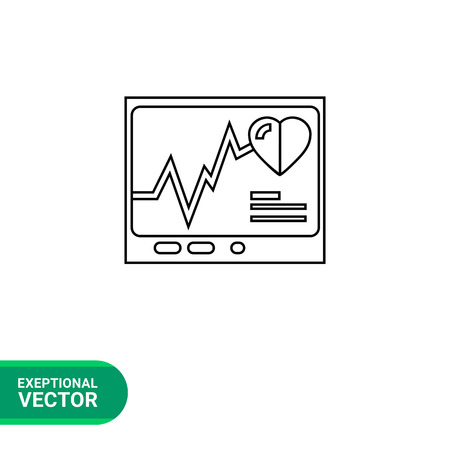 electrocardiograph: Cardiograph screen icon. Vector illustration of heart beats on electro-cardiograph screen