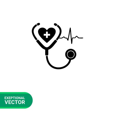infirmary: Monochrome vector icon of human heart, stethoscope and cardiac rate representing cardiology concept