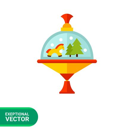 humming: Multicolored vector icon of carousel humming top with horse and fir trees inside
