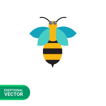 feeler: Multicolored vector icon of cartoon bee, top view