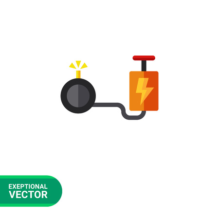 implosion: Multicolored vector icon of cartoon bomb with detonator