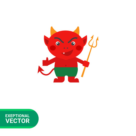 freaky: Vector icon of red cartoon devil with trident