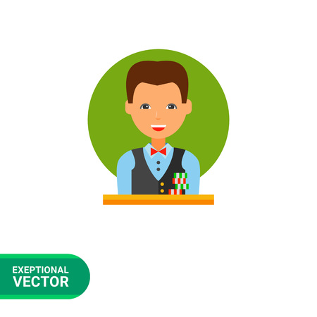 chips stack: Multicolored vector icon of casino croupier with a stack of chips in front of him
