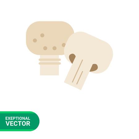champignon: Vector icon of champignon and cut champignon half