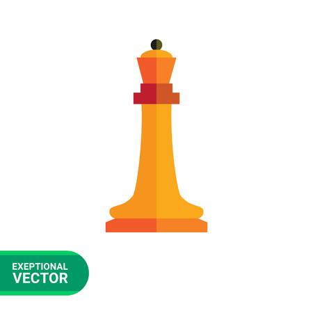 tactic: Multicolored vector icon of orange chess queen