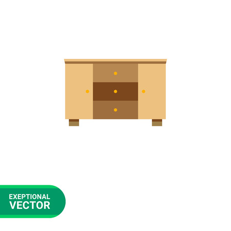 sideboard: Multicolored vector icon of wooden chest of three drawers