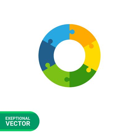 logo element: Multicolored vector icon of abstract circle shape with six puzzle elements