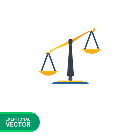 comparing: Multicolored vector icon of classic balance with pans