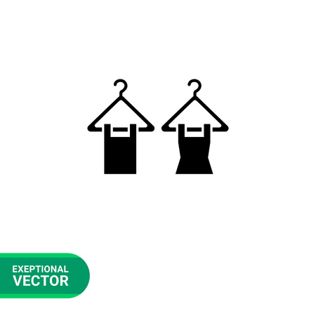 hangers: Vector icon of dress and undervest on hangers
