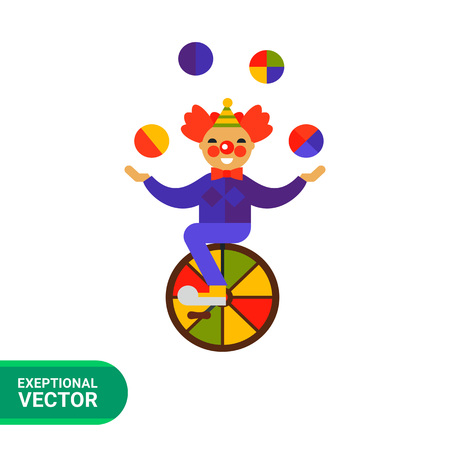 one wheel bike: Multicolored vector icon of cute cartoon clown character riding one wheel circus bike and juggling