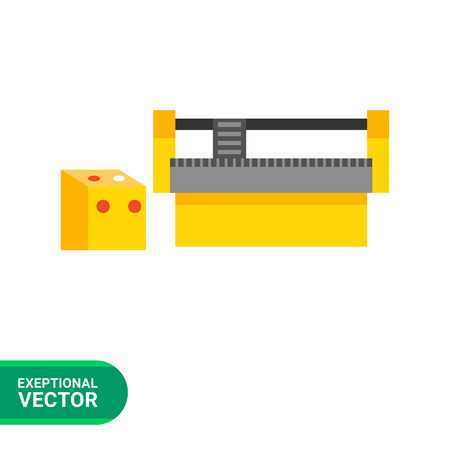 cnc: Multicolored vector icon of industrial equipment. CNC machine