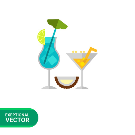 colorful straw: Multicolored vector icon of glasses with blue and yellow cocktail with straw and cut coconut half