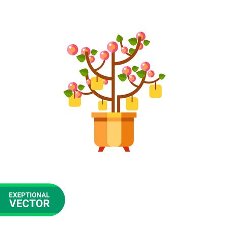 fruitful: Multicolored vector icon of Chinese New Year peach tree with packets with wishes