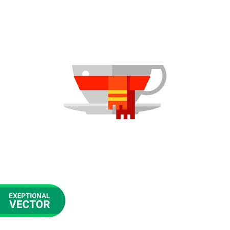 Icon of white coffee cup with saucer wrapped in warm red scarf