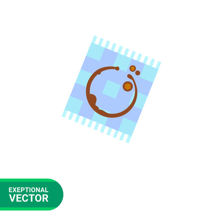 checked: Icon of coffee trace on blue checked napkin with fringe Illustration